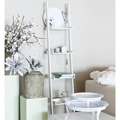 MODERN LADDER SHELVING UNIT in White Pine