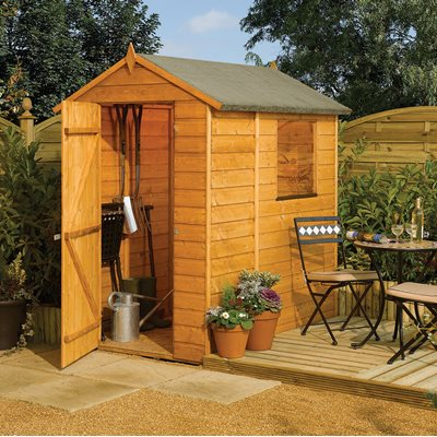ROWLINSON MODULAR 6 x 4 GARDEN SHED in Honey Brown