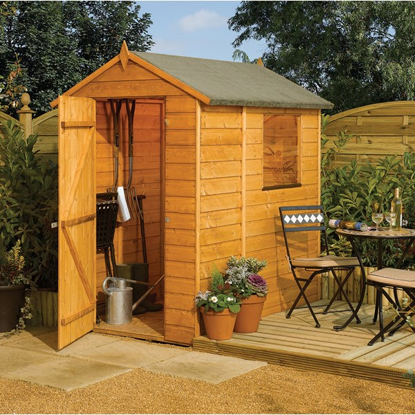 Modular 6 x 4 Garden Shed in Honey Brown by Rowlinson