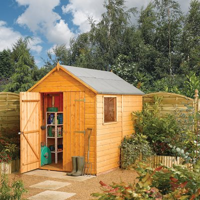 ROWLINSON MODULAR 8 x 6 GARDEN SHED in Honey Brown