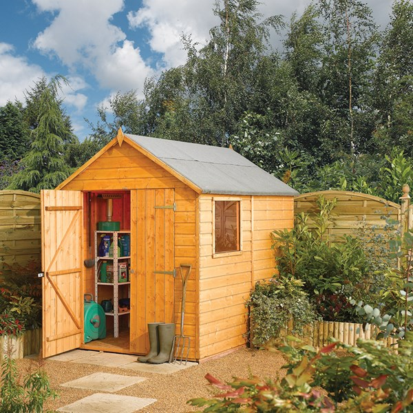Classic Modular 8 x 6 Garden Shed in Honey Brown by Rowlinson