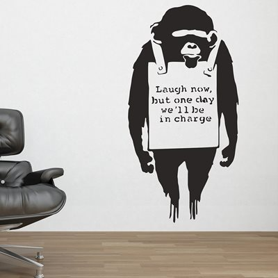 BANKSY WALL STICKER in 'Monkey Sign' design