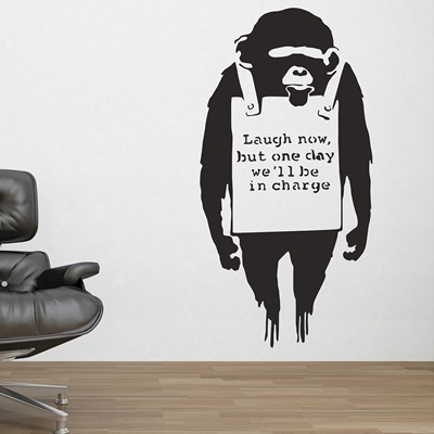 BANKSY WALL STICKER in 'Monkey Sign' design