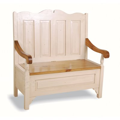 MONKS STORAGE BENCH in Distressed Antique White