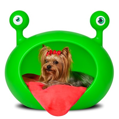 MONSTER CAVE PET BED in Green with Red Cushion