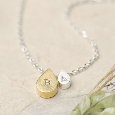 PERSONALISED MOTHER AND BABY DOUBLE DROPLET NECKLACE