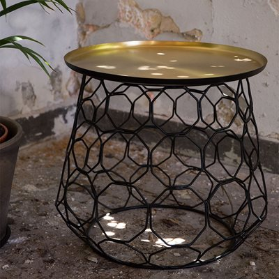 MOULIN BRASS PLATED SIDE TABLE with Iron Frame