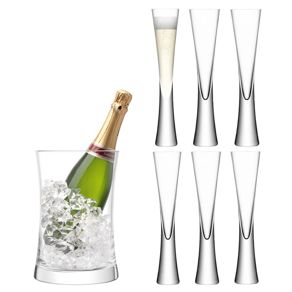 LSA Moya Champagne Serving Set with Flutes and Ice Bucket