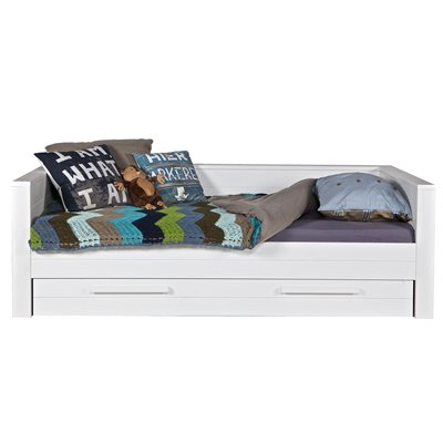 Dennis Day Bed in White with Optional Trundle Drawer by Woood