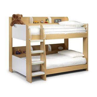 kids bunk bed with shelf in white and maple finish girls. Black Bedroom Furniture Sets. Home Design Ideas