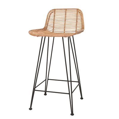 SCANDI STYLE RATTAN BREAKFAST BAR STOOL in Natural
