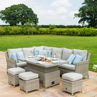 Product photograph showing Maze Rattan Oxford Corner Dining Set With Ice Bucket