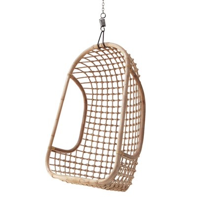 Indoor Rattan Hanging Egg Chair In Natural Finish