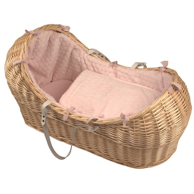 BABY SNOOZE POD in Natural Wicker & Marshmallow Fabric