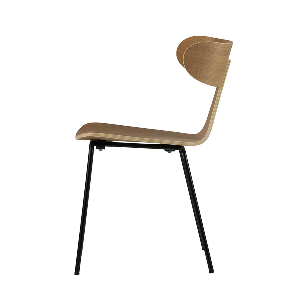 Natural Wooden Dining Chair With Metal Legs Jpg