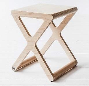 X DESIGNER KIDS STOOL in Natural Wood