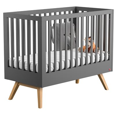 VOX NATURE BABY AND TODDLER COT BED in Dark Grey & Oak