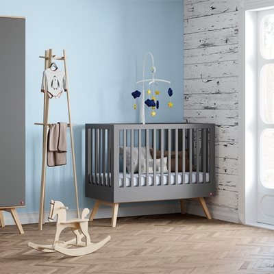 VOX NATURE BABY COT in Dark Grey & Oak