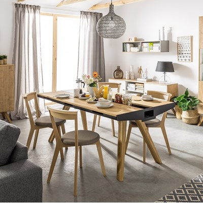 Nature oak dining table with drawers and removable metal plates