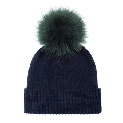 HELEN MOORE CASHMERE POM POM BEANIE HAT in Navy and Spruce