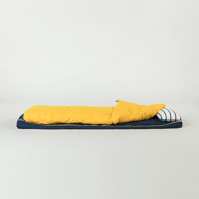 BUNDLE BEDS ROLL UP GUEST BED in Navy and Yellow