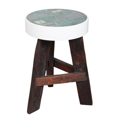 NERD TEAK SIDE TABLE & STOOL