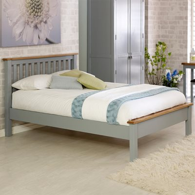 NEW HAMPSHIRE LOW END BED FRAME in Grey and Oak By Birlea
