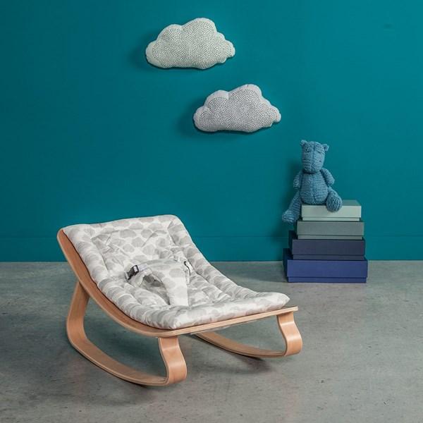 Levo Baby Rocker in Beech Wood with Moumout Cloud Cushion