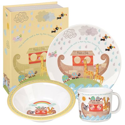 NOAH'S ARK MELAMINE DINNER SET with Gift Box