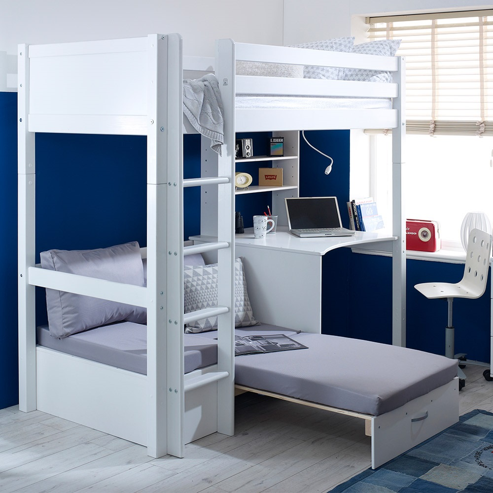 flexa nordic kids high sleeper 3 in white affiliate. Black Bedroom Furniture Sets. Home Design Ideas