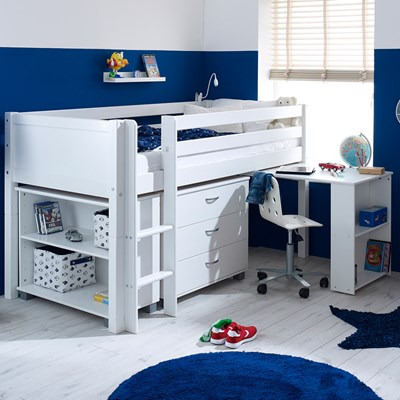 Flexa Nordic Kids Mid Sleeper 3 In White · Flexa Furniture