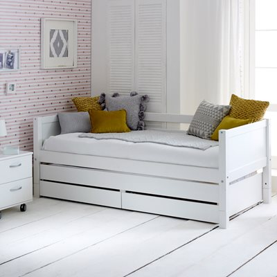FLEXA NORDIC KIDS DAY BED with Trundle Bed and Drawers in White