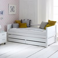 Flexa Nordic Kids Day Bed with Trundle Bed & Drawers in White
