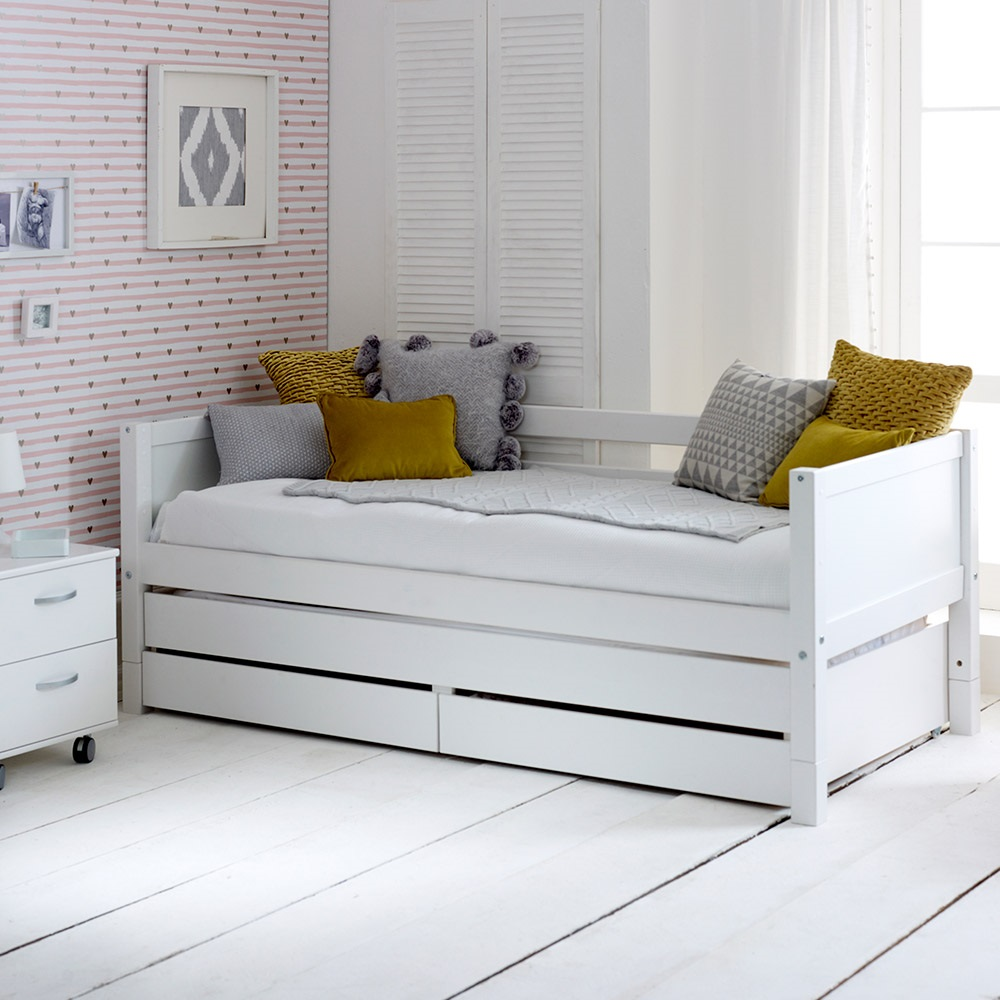 Flexa Nordic Kids Day Bed With Trundle Bed And Drawers In