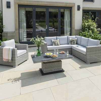 AYA OUTDOOR CORNER SOFA SET WITH ADJUSTABLE HEIGHT TABLE