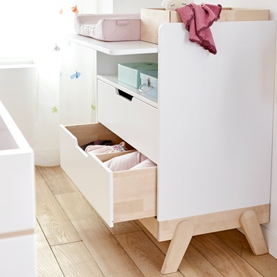 BABY CHANGING UNIT / JUNIOR DESK in White and Birch