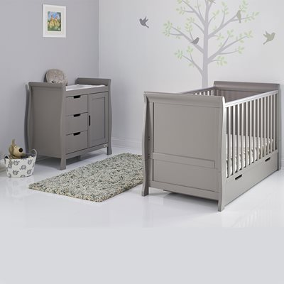 Obaby Stamford Sleigh Cot Bed 2 Piece Nursery Set in Taupe Grey