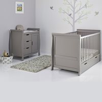 STAMFORD COT BED 2 PIECE NURSERY SET in Taupe Grey by Obaby