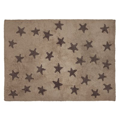 KIDS WASHABLE RUG in Brown Messy Star Design