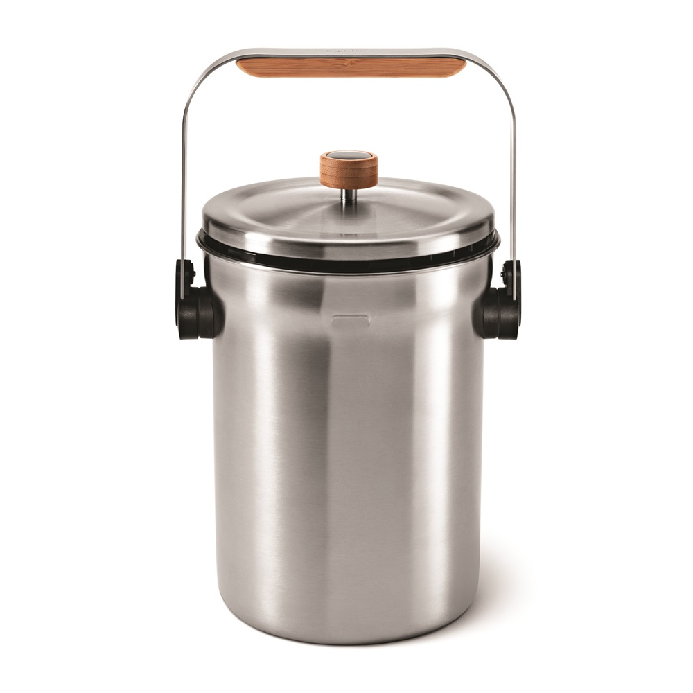 Odorsorb Compost Pail In Brushed Stainless Steel 4 5