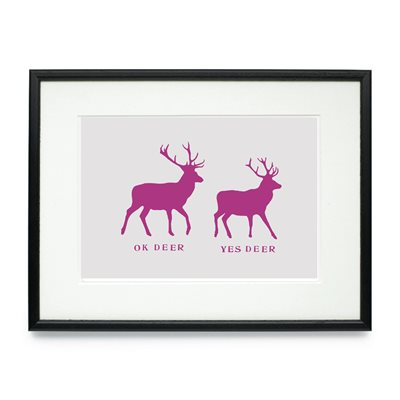 OK DEER FRAMED PRINT by Raw Xclusive