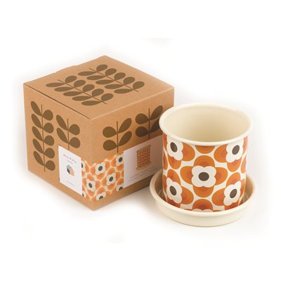 ORLA KIELY Plant Pot in Orange -  Small
