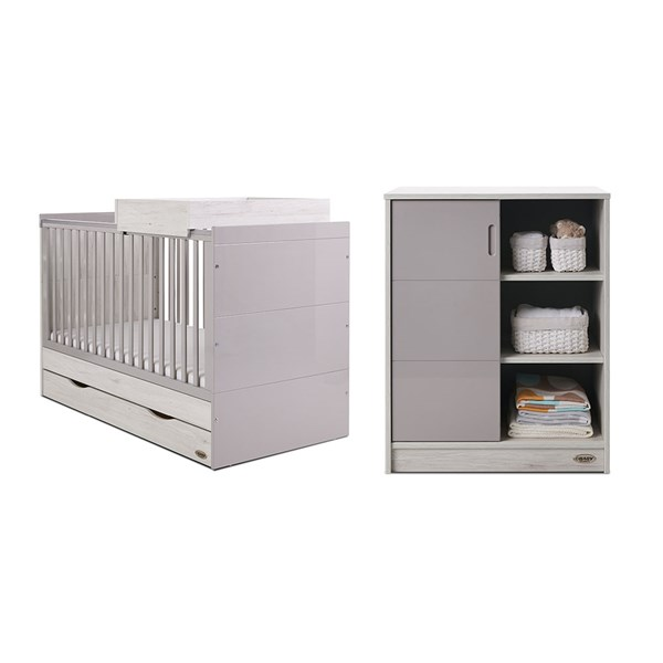 Obaby Madrid Cot Bed 2 Piece Nursery Set in Lunar