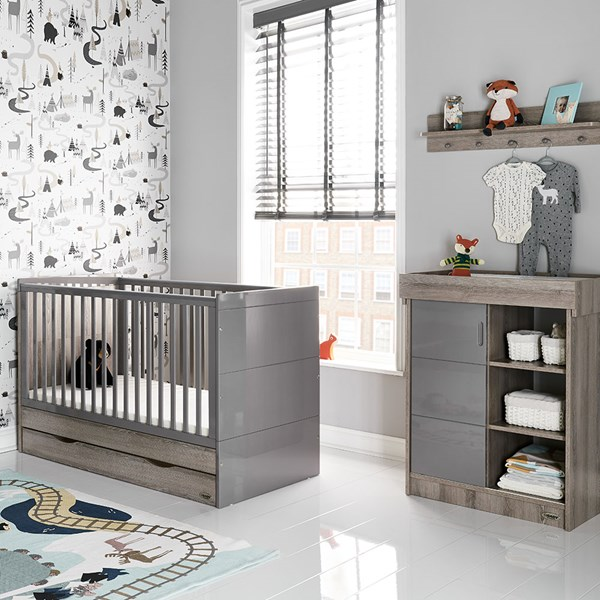 Obaby Madrid Cot Bed 2 Piece Nursery Set in Eclipse