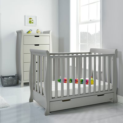 Obaby Stamford Mini Sleigh Cot Bed in Warm Grey with Optional Free Mattress