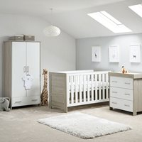 Obaby Nika Cot Bed 3 Piece Nursery Furniture Set - Grey Wash and White