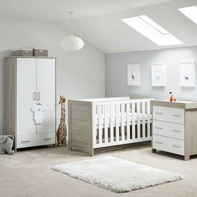 Obaby Nika Cot Bed 3 Piece Nursery, Baby Room Furniture Set