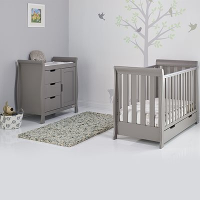 OBABY STAMFORD MINI SLEIGH COT BED 2 PIECE NURSERY SET in Taupe Grey with Free Mattress