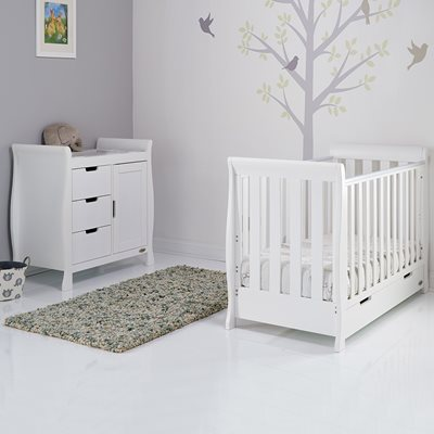 OBABY STAMFORD MINI SLEIGH COT BED 2 PIECE NURSERY SET in White with Free Mattress