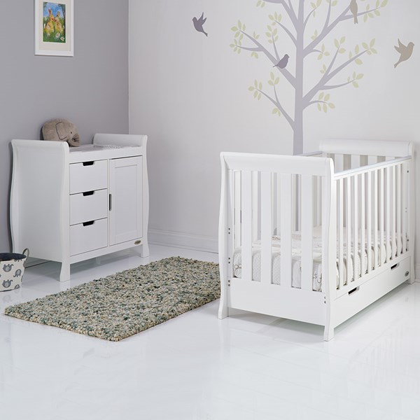 Stamford Mini Cot Bed 2 Piece Nursery Set in White by Obaby